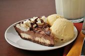 stock photo of lice  - A lice of chocolate cream pie with a glass of milk - JPG