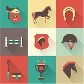 stock photo of saddle-horse  - Vectir Horse icons set - JPG