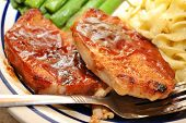 pic of redneck  - Pork chops with BBQ sauce as a side dish - JPG