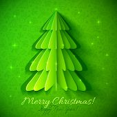pic of cutting trees  - Green origami Christmas tree vector greeting card - JPG