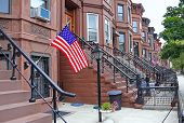 stock photo of entryway  - Sunset Park Brooklyn neighbhorhood with cement steps  - JPG