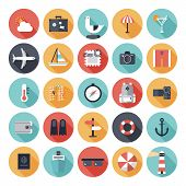 stock photo of transportation icons  - Modern flat icons vector collection with long shadow effect in stylish colors of travel tourism and vacation theme - JPG
