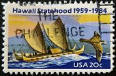Usa - Circa 1984: A Stamp Printed In Usa Shows Image Of The Dedicated To The Hawaii Statehood