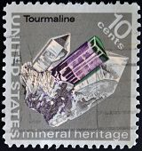 United States Of America - Circa 1974: A Stamp Printed In Usa Shows A Cristal Tourmaline, Series