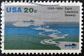 A stamp printed in the USA shows Saint Lawrence Seaway (1959-1984)