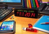 stock photo of stopwatch  - Creative abstract New Year 2014 beginning celebration business concept - JPG
