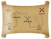 picture of treasure map  - Parchment map shows path from idea to success in business - JPG