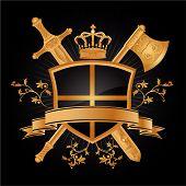 foto of armorial-bearings  - Vector heraldic pattern with floral on black background - JPG