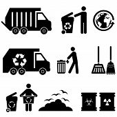 pic of trash truck  - Trash garbage and waste icon set in black - JPG