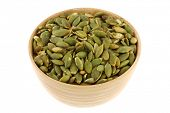 picture of salt-bowl  - A bowl of Roasted and Salted Pumpkin seeds - JPG