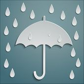 stock photo of personal safety  - Umbrella in the rain drops dripping in the form of paper stickers - JPG
