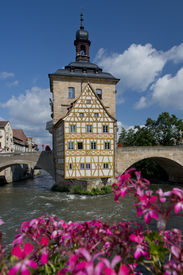 picture of regnitz  - The old town hall situated on the river Regnitz in the medieval center of Bamberg in Bavaria Germany. An Unesco world heritage site ** Note: Shallow depth of field - JPG