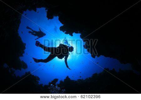 Scuba Diving in cave