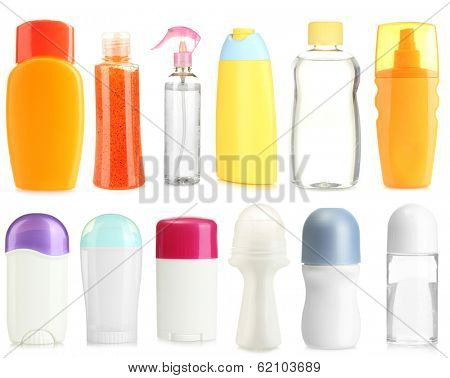 Collage of cosmetic bottles isolated on white