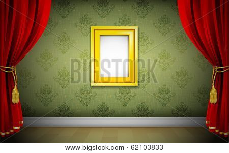 illustration of photo frame on wallpaper with curtain interior