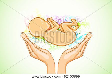 illustration of hand holding female fetus on abstract floral background