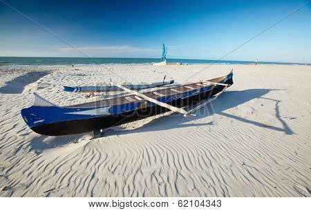 Traditional Malagasy boat. Morondava, Madagascar
