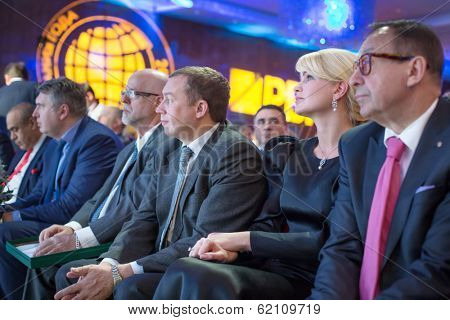 RUSSIA, MOSCOW - DEC 11, 2013: People at presentation title Company of the Year 2013 in Lotte Plaza Hotel. Organizer - Rosbusinessconsulting.