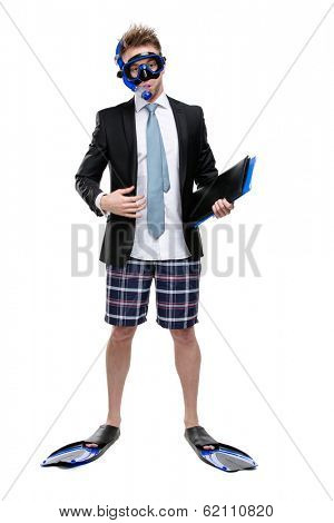 Full-length portrait of businessman wearing fins, snorkel and goggles hands folder with documents, isolated on white