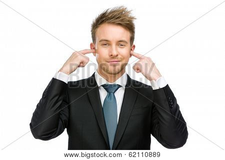 Half-length portrait of manager closes his ears, isolated on white. Concept of noise and stress
