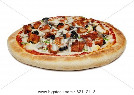 Chicken and Prawn with vegtable pizza on white background
