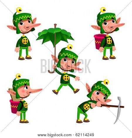 Funny dwarf in different poses. Cartoon vector isolated character.