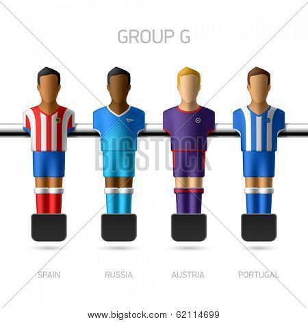 Table football, foosball players. Group G - Spain, Russia, Austria, Portugal. Vector.