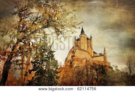 mysterious  castle Alcazar in Segovia, Spain