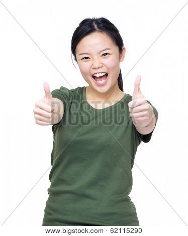 Excited asian woman two hand with thumb up
