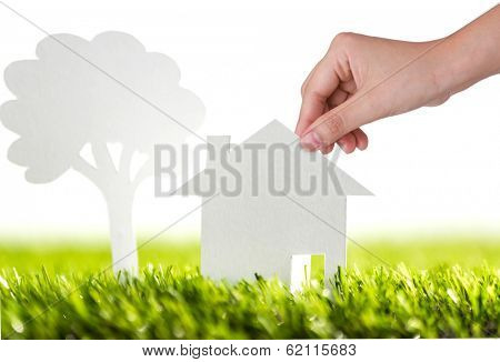 Paper cut of family house and tree on fresh spring green grass
