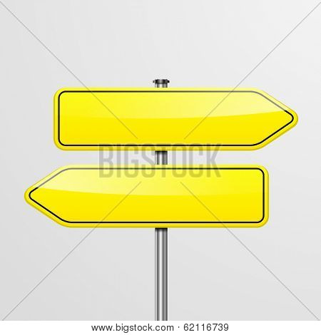 detailed illustration of a roadsign with two empty pointers showing in different directions, eps10 vector