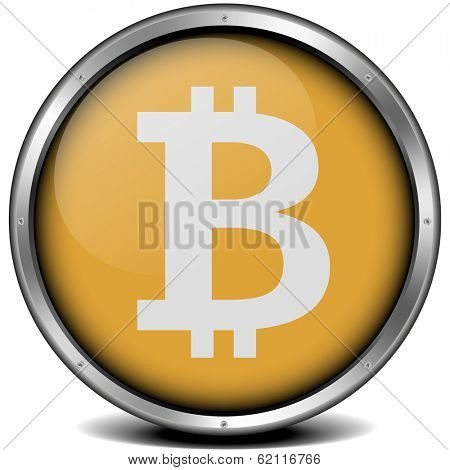 illustration of a metal framed bitcoin icon, eps10 vector