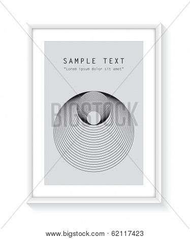 White frame with design and text