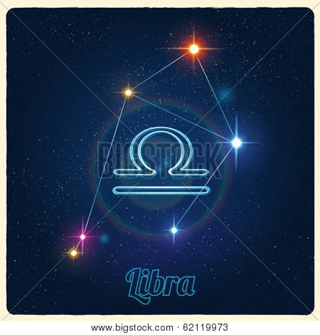 Vector constellation Libra with Zodiac sign