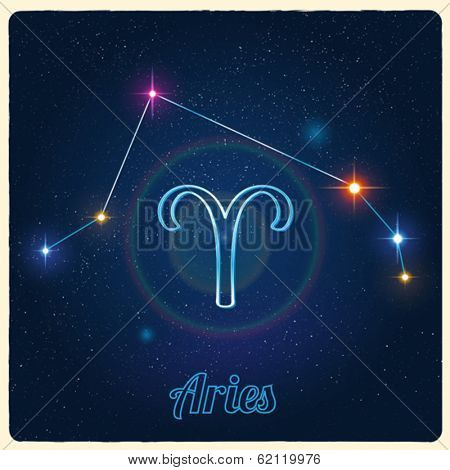 Vector constellation Aries with Zodiac sign