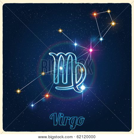 Vector constellation Virgo with Zodiac sign