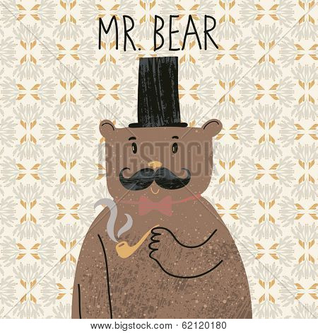 Mr Bear. Cute cartoon bear in classical style with top hat, smoking pipe, bow-tie and nice mustache. Vector cartoon character on retro pattern