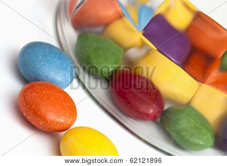 Detail Of Colorful Smarties And Glass