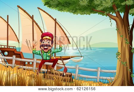 Illustration of a lumberjack near the fence at the riverbank with a ship