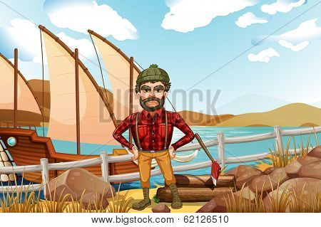 Illustration of an angry lumberjack near the ship
