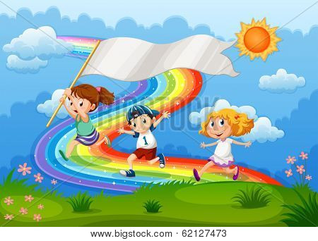 Illustration of the kids running with an empty banner and a rainbow in the sky