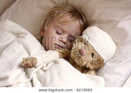Baby Toddler Asleep With Teddy Bear