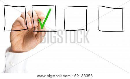 Man Ticking A Check Box On A Virtual Interface
