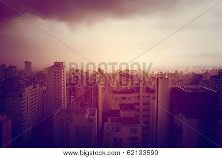 Polluted Sao Paulo.- Retro Image