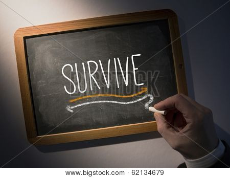 Hand writing the word survive on black chalkboard