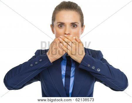 Business Woman Closing Mouth