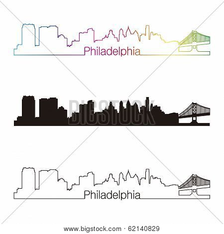 Philadelphia Skyline Linear Style With Rainbow
