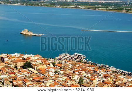Nafplio and the Bourtzi Castle island from above