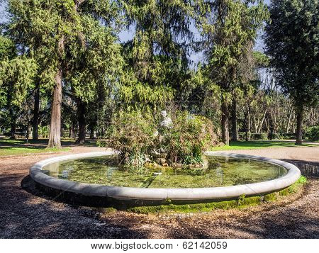 Fountain And Statue In Villa Borghese, Rome