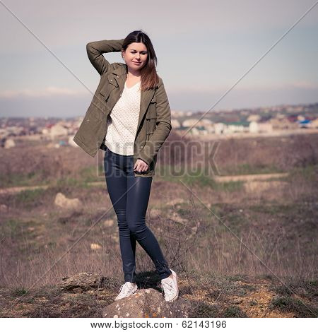 Fashion Woman Outdoor Portrait. Style Instagram Filters